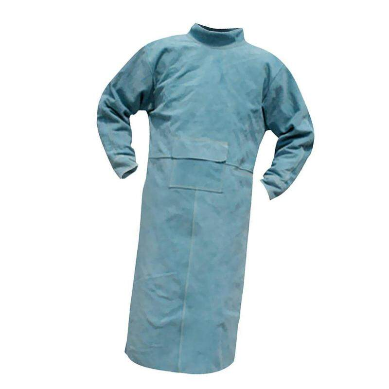 Welding Long Coat Apron Protective Clothing Apparel for Welder Blue 120cm