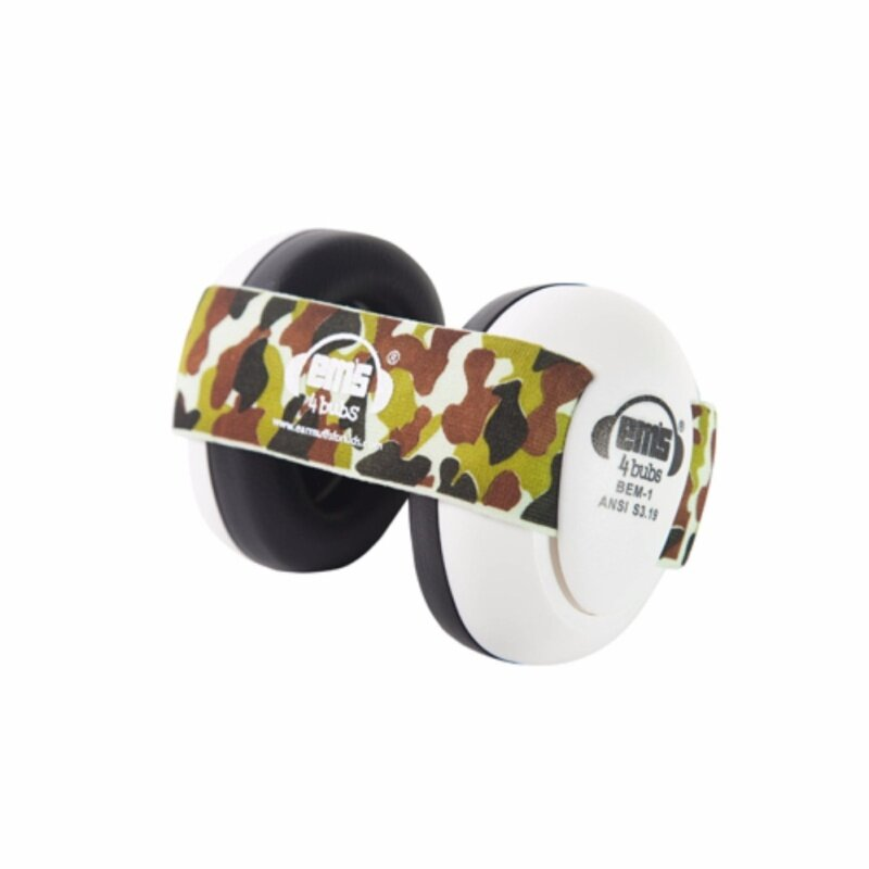 White EMS Baby Earmuffs, with Army Camo adjustable headband, tested to USA and European safety standards for ear protection