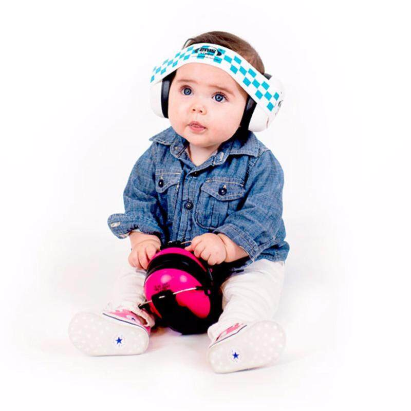 Buy White EM'S Baby Earmuffs, with Blue/White adjustable headband, tested to USA and European safety standards for ear protection Malaysia