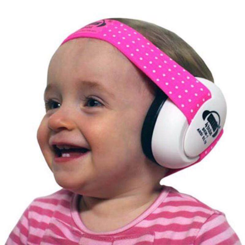 White EM'S Baby Earmuffs, with Pink/White adjustable headband, tested to USA and European safety standards for ear protection