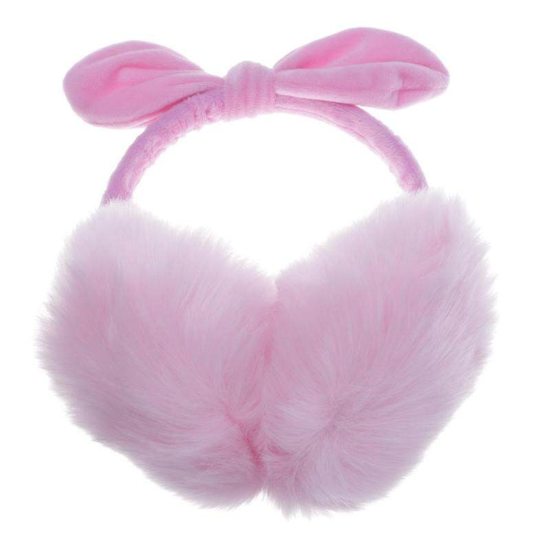 Buy Whyus-New Women Lady Girls Stylish Winter Warmer Soft Rabbit Fur Earmuffs Cute Bowknot Earlaps Earmuffs Pink Malaysia