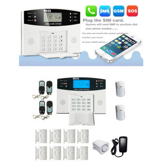 Harga Wireless GSM SMS Intelligent Home Alarm System Kit LCD DisplayRemote Control Security Household Warning 99+8 Zones