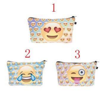 Women 3D Print Emoji Make Up Bag Kids Pencil Case Phone Pouch Cosmetic Handbag - 2
