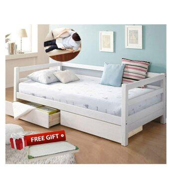 Wooden sofa bed with multifunctional drawers white for Wooden divan bed with drawers