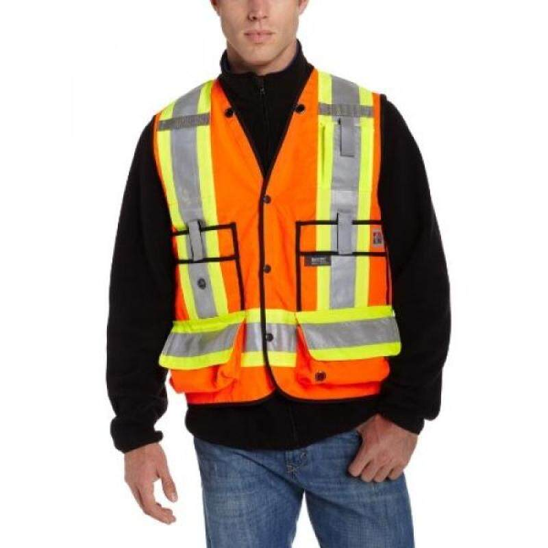 Work King Mens Hi-Vis Surveyor Vest, Safety Orange, Medium