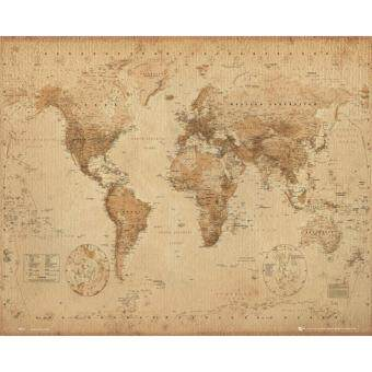 Harga World Map (Antique) - GB Eye Poster (40 cm X 50 cm)