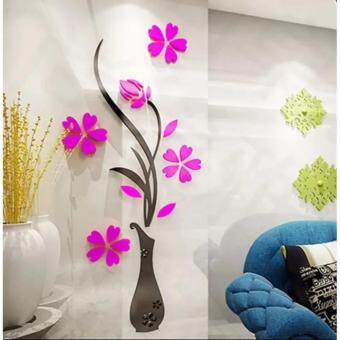 Harga YingWei 32x80cm 3D Vase Flower Plum Acrylic Wall Stickers EntranceDIY Art Home Room TV Decor Hot Pink