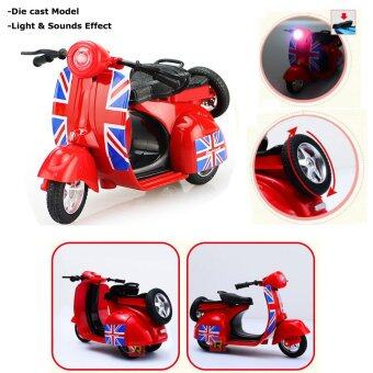 Harga 1:14 Scale Diecast Vespa Scooter Motorcycles withLight&Sounds-Red