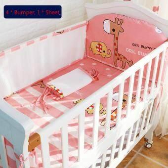 130*70CM Baby Crib Bedding Set Kids Bedding Set Newborn Baby BedSet Crib Bumper Baby Cot Set Baby Bed Bumper Deer Pink