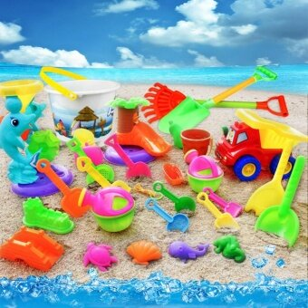 Harga 14 Pcs Children Summer Beach Toys Plastic Shovel Toy Sand MoldHourglass Set Play Sand Toy Gift for Boys and Girls,B