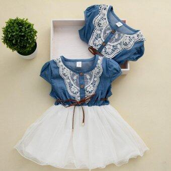 Harga 2017 Kids Baby Girls Party Lace Flower Tulle Denim Dress CasualSummer Dresses