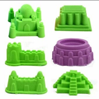 2KG Non Toxic DIY Kinetic Magic Play Sand Box Set Arts & Crafts Toys for Kids (Green Color Sand)