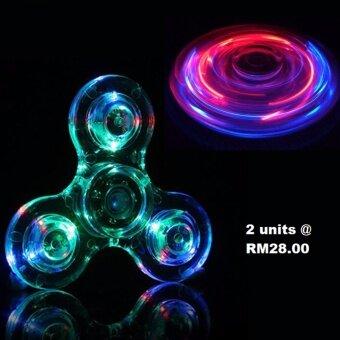 2pcs Fidget Spinner LED Transparent Switch Crystal Rainbow Spinner