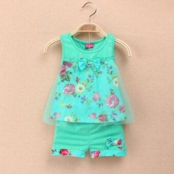 2PCS Infant Baby Floral Tulle Sundress +Shorts Clothing SetsOutfits for 0-24M girls - 2