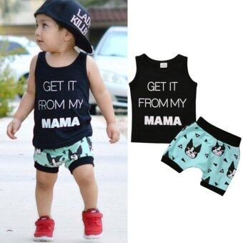 2PCS Kids Baby Boys Toddler T-shirt Vest Tops + Casual PantsClothes Outfits Set