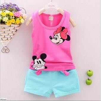 2PCS Toddler Kids Baby Girls T-shirt Tops+Short Pants SummerOutfits Set Clothes Rose