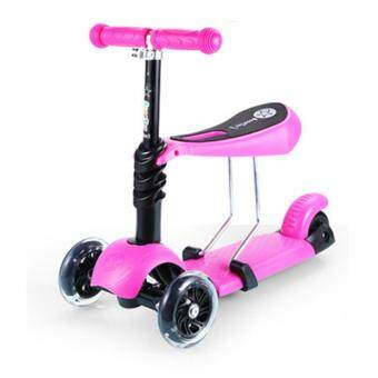 Harga 3 in 1 Height Adjustable Flash Wheels Scooter - Pink
