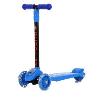 Harga 3 wheels Kids Scooter flash wheel nice quality (Blue)