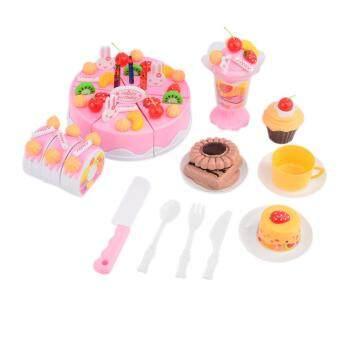 360DSC Birthday Cake Pretend Play Food Toy Set for Kids Girls - Pink
