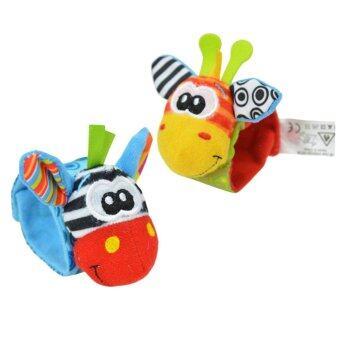360DSC One Pair Lovely Infant Baby Kids Animal Hand Wrist BellsRattles Soft Toys