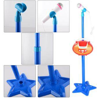 360DSC Portable Kids Karaoke Machine Toy Adjustable Star Base Stand Microphone Music Play Toy - Blue