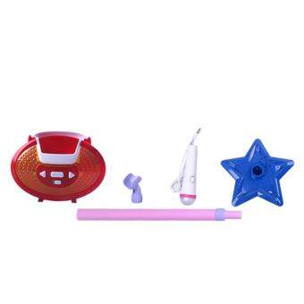 360DSC Portable Kids Karaoke Machine Toy Adjustable Star Base Stand Microphone Music Play Toy - Rosy