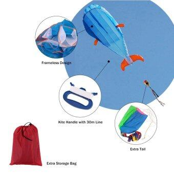Harga 3D Dolphin Kite Huge Frameless Soft Parafoil Kite with Handle LineOutdoor Sports
