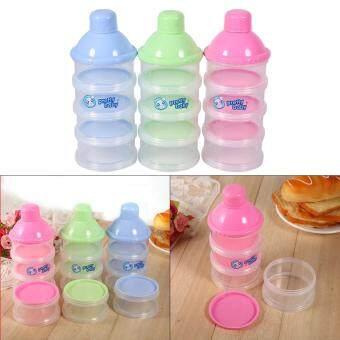 4 Layers Portable Infant Baby Milk Powder Formula Dispenser FeedingCase Box Container (Blue)
