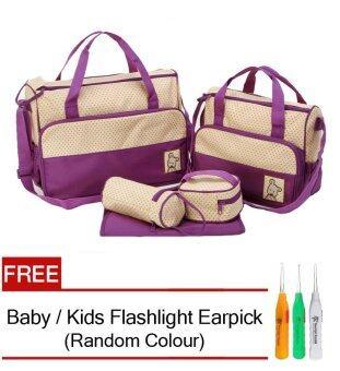 5 in 1 Mummy Essential Diaper Bag (Purple) FREE Baby / Kids Flashlight Earpick