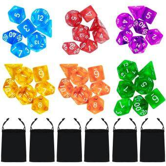 Harga 6 Set 42 PCS Acrylic Polyhedral Number Game Dice 7 Style D4 D6 D82D10 D12 D20 with Storage Pouches for Dungeons And Dragons PartyMath Game Playing