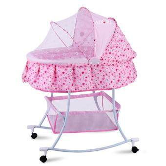 ADORE Multipurpose Rocking Cradle Bassinet Bed Set with Wheels forMobility-Pink