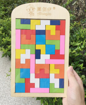 Baby wooden multi-color children's building blocks puzzle jigsaw puzzle