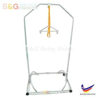 Harga B&G Baby Local Premium Baby Safety Spring Cot Stand (Epoxy) Side Steel Bar Support -Silver