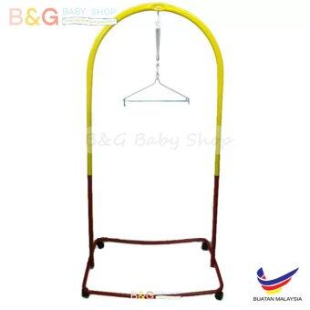 Harga B&G Baby Local Premium Baby Safety Spring Cot Stand (Epoxy)Multi Colour With Roller