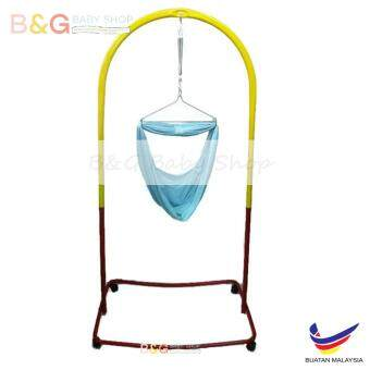 Harga B&G Baby Local Premium Baby Safety Spring Cot Stand (Epoxy)Multi Colour With Roller With Cradle Net (Random Color)