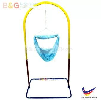 Harga B&G Baby Local Premium Baby Safety Spring Cot Stand (Epoxy)Multi Colour Without Roller With Cradle Net (Random Color)