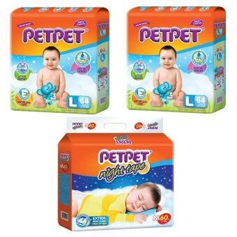 Harga [Best Night Bundle] PETPET Tape Diaper Mega Packs L64 (2pack) +PETPET Night Tape Diaper Mega Packs M60 (1pack)