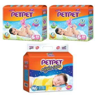 [Best Night Bundle] PETPET Tape Diaper Mega Packs S84 (2pack) + PETPET Night Tape Diaper Mega Packs S66 (1pack)