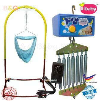 Harga BgBabyShop Local Premium Baby Safety Spring Cot Stand(Epoxy) Multi Colour With Roller With Cradle Net (Random Color) + POLO AUTO CRADLE (1 YEAR WARRANTY)