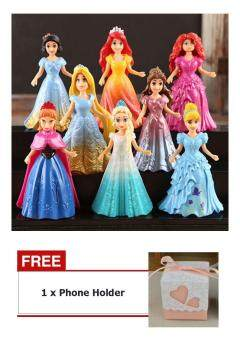Buy 1 Get 1 Free ! 8PCs Princess Action Figures Dress Doll Toy For Kids Children Baby Boy Girl