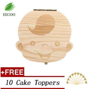 Harga (Buy 1 Get 1 Free Gift) Baby Kids Wooden Teeth Storage Box 3-6 YEARS Saving Box- Boy English