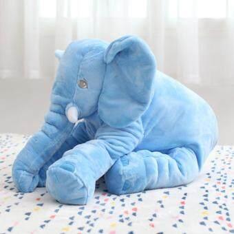 Cuddly Baby Kid Long Nose Elephant Animal Doll Soft Stuffed ToysPillow (Blue/40CM) - 2