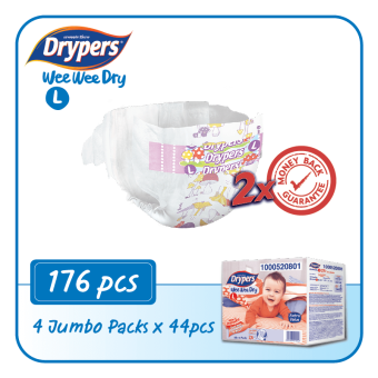 Drypers Wee Wee Dry L44 x 4packs (176 pcs)