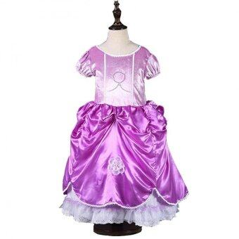 Harga Girls Anna and Elsa princess dress Hot new fashion Purple style for3-10Y