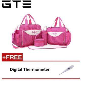 Harga GTE 5-In-1 Multi-Functional Mummy Diaper Nappy Carrying Bag Set - Pink + (FREE) Home Digital Thermometer