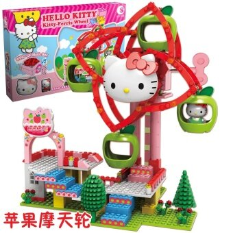 Harga Hello Kitty girl building blocks children's toys puzzle assembledfight inserted building blocks music amusement park