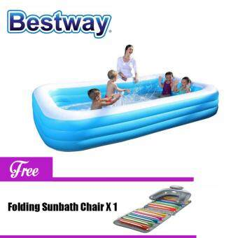Harga Bestway 3.05 Meter 54009 Extra Large Inflatable Family Swimming Pools 3 Layers [NP170] - (Blue with White top) - Relax version