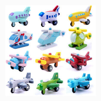 Harga 12PCS Wooden movable small aircraft children's toys craft decoration