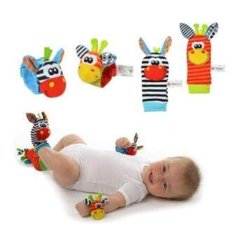 Harga Sozzy 4 Packs Adorable Animal Infant Baby Toy Set Bell Wrist Rattle & Foot Socks #3 Neddy
