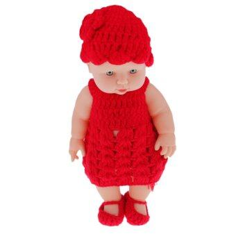 "Harga BolehDeals 11"" Lifelike Baby Dolls Silicone Vinyl Soft Newborn Doll in Red Knit Suit"